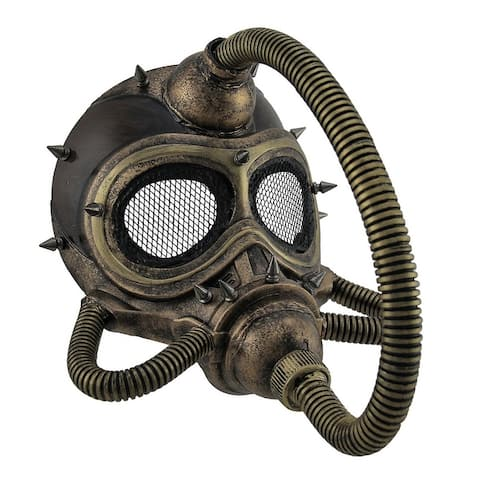 Metallic Spiked Steampunk Submarine Gas Mask - 10.25 X 9 X 8.5 inches