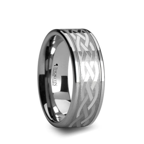 Paetus Flat Dual Offset Grooved Tungsten Ring With Celtic Design