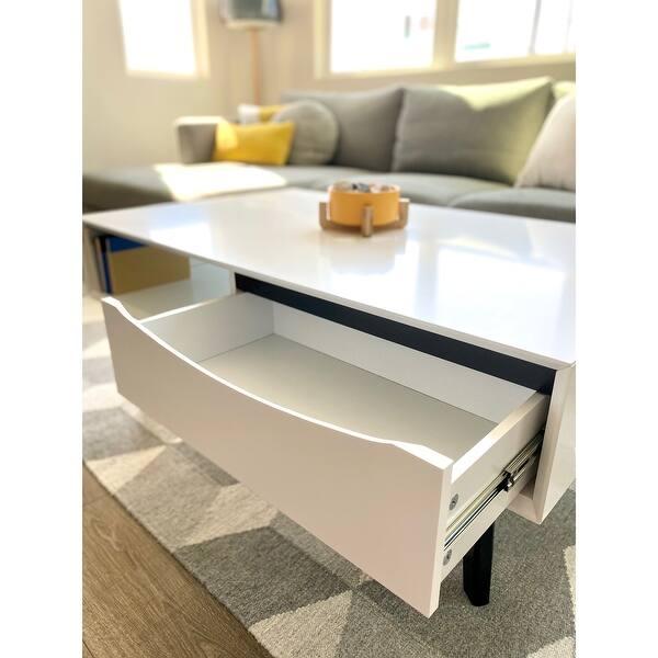 Aurora Mid Century Modern Coffee Table With Storage White Overstock 31602422