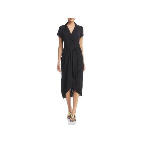 Yumi Kim Womens Meet & Greet Wrap Dress Collared Midi