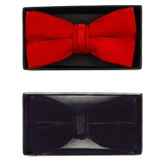 Men's Velvet Pre-tied Adjustable Length Banded Bow Tie - One size