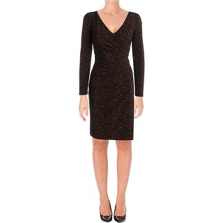Lauren Ralph Lauren Womens Wear to Work Dress Animal Print Faux Wrap