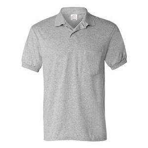 Hanes Ecosmart Jersey Sport Shirt with a Pocket - Light Steel - L