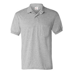 Hanes Ecosmart Jersey Sport Shirt with a Pocket - Light Steel - M
