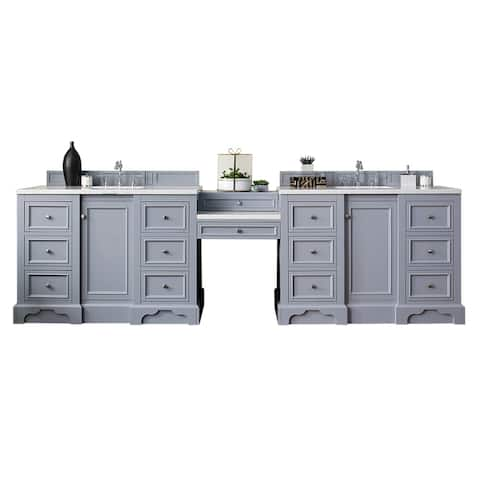"De Soto 118"" Double Vanity Set, Silver Gray with Makeup Table"