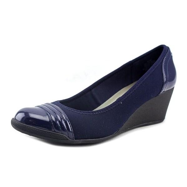 Anne Klein Sport Tuppere Women Open Toe Canvas Blue Wedge Heel
