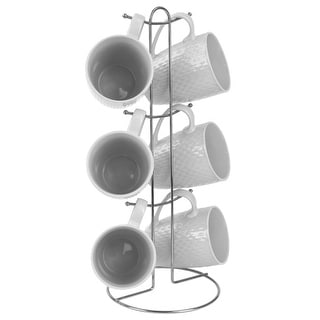 6 Piece Crochet Mug Set with Stand, White