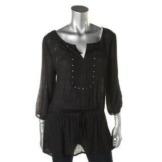 Spoiled Womens Juniors Studded 3/4 Sleeves Tunic Top