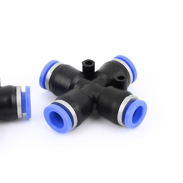 Plastic Straight Union Push to Connect The Tube Fitting 8mm 4mm OD Push Fit Lock Blue 10pcs