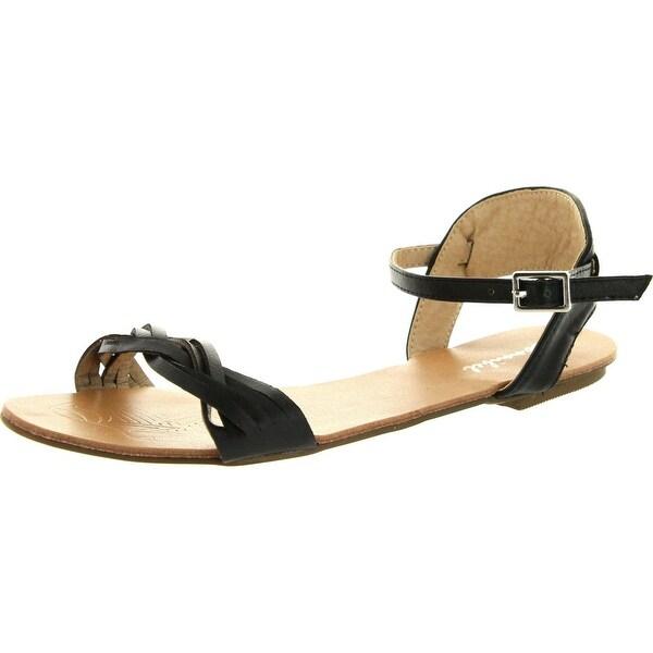 Bonnibel Womens Maya-2 Weave Vamp Band Buckle Ankle Strap Flat Sandals