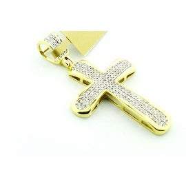 Diamond Cross 10K Gold 1/3cttw Diamonds Yellow Gold 39.5mm tall( 0.33cttw) By MidwestJewellery - White