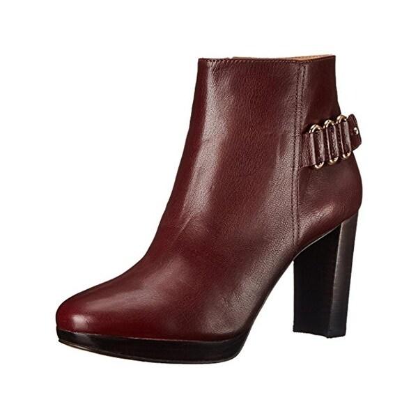 Nine West Womens Kali Booties Leather Stacked Heel