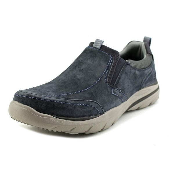 Skechers Corven-Espino Men Round Toe Leather Blue Sneakers