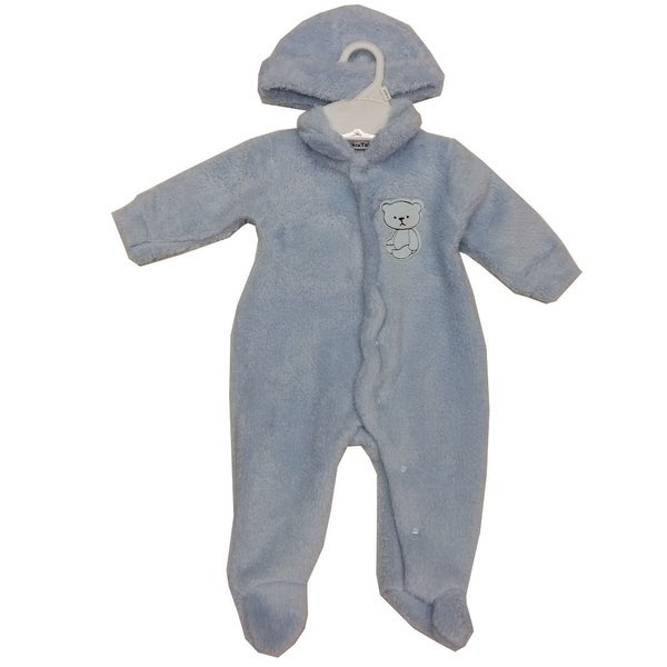 Rumble Tumble Baby Boys Blue Teddy Bear Applique Snap Closure Hat Coverall 3-9M