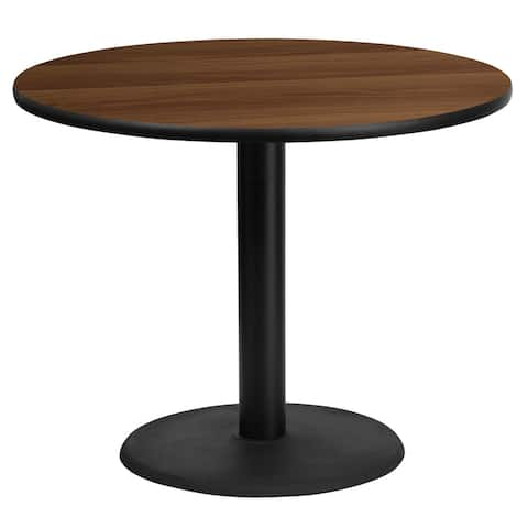 "Dyersburg 36'' Round Walnut Laminate Table Top w/30"" High Round Base"