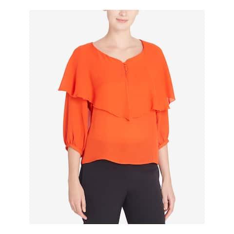 CATHERINE MALANDRINO Womens Orange Long Sleeve V Neck Top Size: S