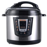 Costway 1000 Watt 6-quart Electric Pressure Cooker Brushed Stainless Steel - Silver and Black