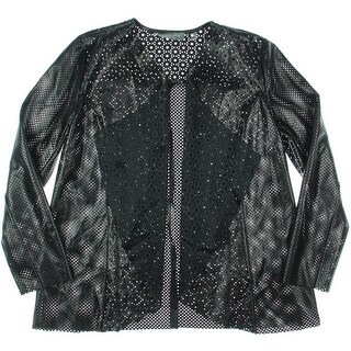 Bagatelle Womens Faux Leather Perforated Jacket