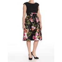 SANGRIA Womens Black Floral Cap Sleeve Jewel Neck Knee Length Fit + Flare Prom Dress  Size: 4
