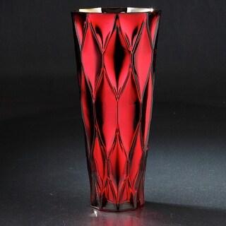 "4"" Red Geometric Pattern Glass Flower Vase"