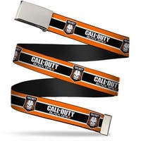 "Blank Chrome 1.0"" Buckle Call Of Duty Black Ops Iii Skull Icon 3 Stripe Web Belt 1.0"" Wide - S"