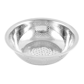 Unique Bargains Stainless Steel Vegetable Fruit Washing Bowl Colander Silver Tone 30cm Diameter