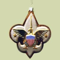 """Pack of 6 Glass Boy Scout Logo Christmas Ornaments 2.5"""" - multi"""