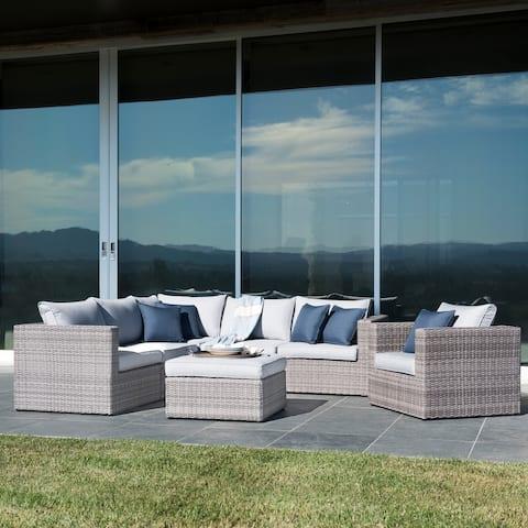 Corvus Sevilla Grey Wicker 7-piece Outdoor Sofa Set
