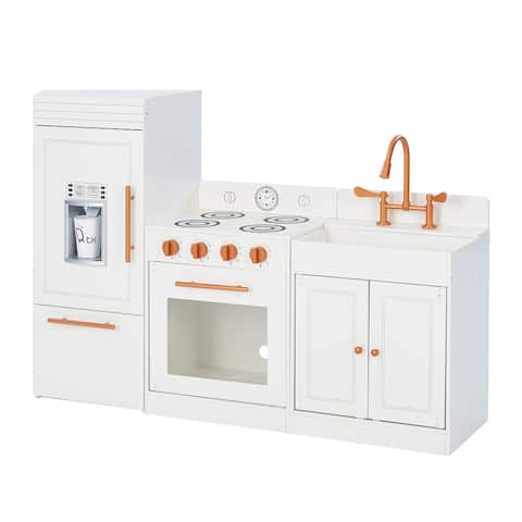 Teamson Kids White and Rose Gold Little Chef Paris Modern Play Kitchen
