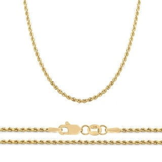 Link to Mcs Jewelry Inc  14 KARAT YELLOW GOLD CLASSIC SEMI SOLID ROPE CHAIN NECKLACE (2MM) Similar Items in Necklaces