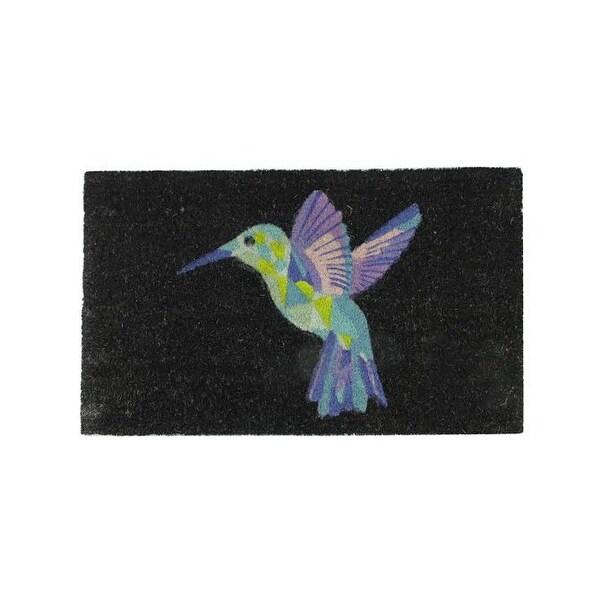 """Black and Multi-Color Bird Outdoor Coir Rectangular Door Mat 29.5"""" x 18"""""""