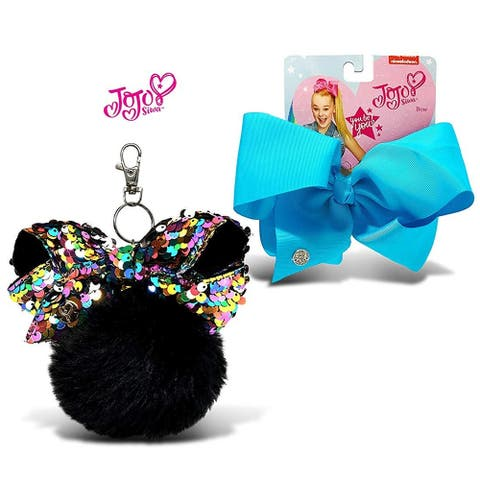 JoJo Siwa Black Fur Ball with Mini Sequin Bow and Teal Basic Bow on Metal Salon Clip 2 Items