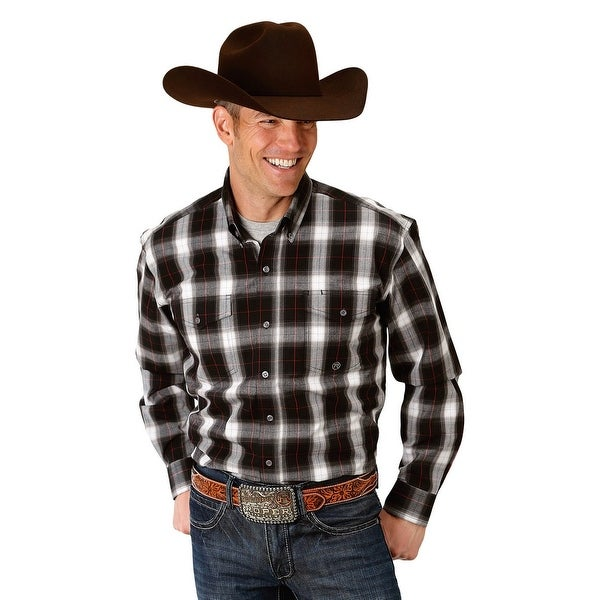 c161205c Shop Roper Western Shirt Mens L/S Plaid Button Black - Free Shipping Today  - Overstock - 28051435