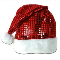 Pack of 12 Sequin-Sheen Santa Christmas Hats One Size Fits Most - RED