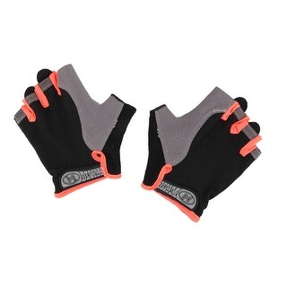 Outdoor Sport Anti Skid Half Finger Protector Gloves Orange Black M Size Pair