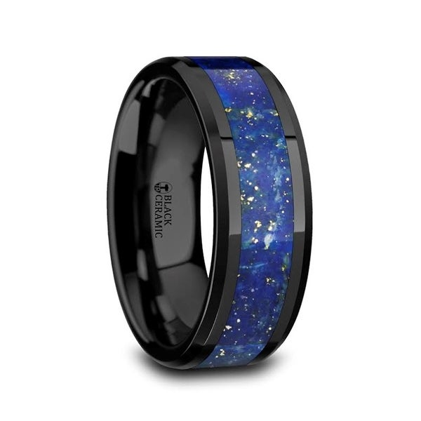 Bridal Wedding Bands Decorative Bands Titanium Polished Blue Carbon Fiber Inlay Ring Size 12.5