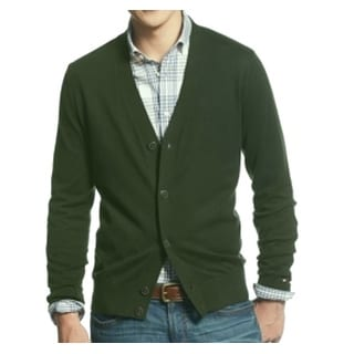 Tommy Hilfiger NEW Green Mens 2XL V-Neck Button-Front Cardigan Sweater