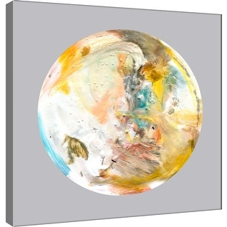 "PTM Images 9-101100  PTM Canvas Collection 12"" x 12"" - ""Painterly Circle on Grey A"" Giclee Abstract Art Print on Canvas"
