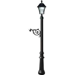 Lewiston Post System with Fluted Base & Bayview Solar Lamp, Black