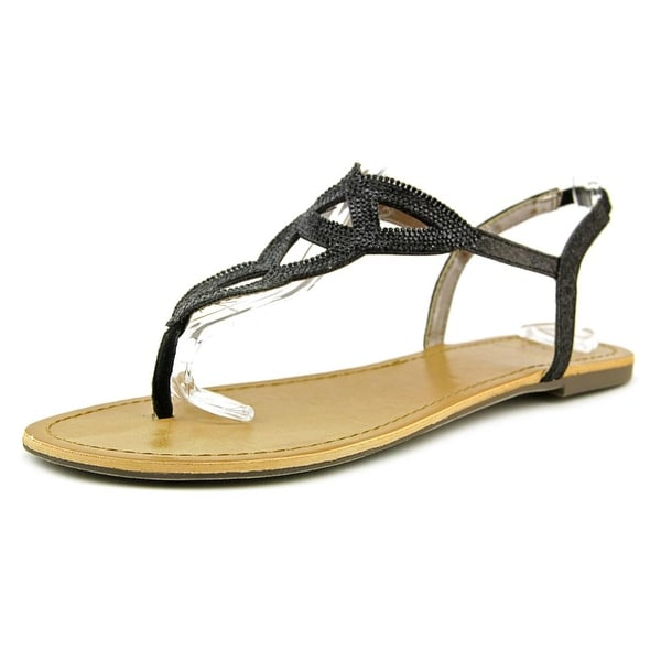 Material Girl Swirlz Women Open Toe Canvas Black Thong Sandal