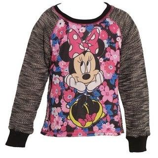 Disney Girls Black Floral Minnie Print Raglan Sleeve Fashion Top 7-8