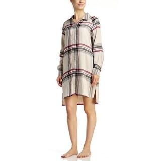 DKNY Women's Flannel Sleepshirt - Oat Plaid - oatmeal plaid