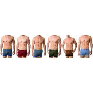 Men's Stripes Classic Boxer Briefs Shorts Seamless Underwear 6-Pack(One Size)