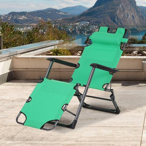 Outsunny Metal Frame Outdoor Pool Sun Lounger Reclining Chair 120/180 with Comfy Head Pillow & Reclining Design, Green