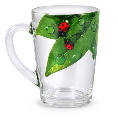 STP-Goods Green Leaf Glass Tea Coffee Large Mug