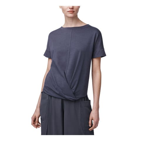 B NEW YORK Womens Gray Short Sleeve Jewel Neck Top Size XL