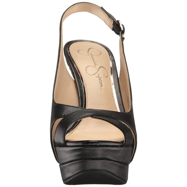 56fd267a54f Jessica Simpson Womens Willey Leather Open Toe Special Occasion Slingback  San.
