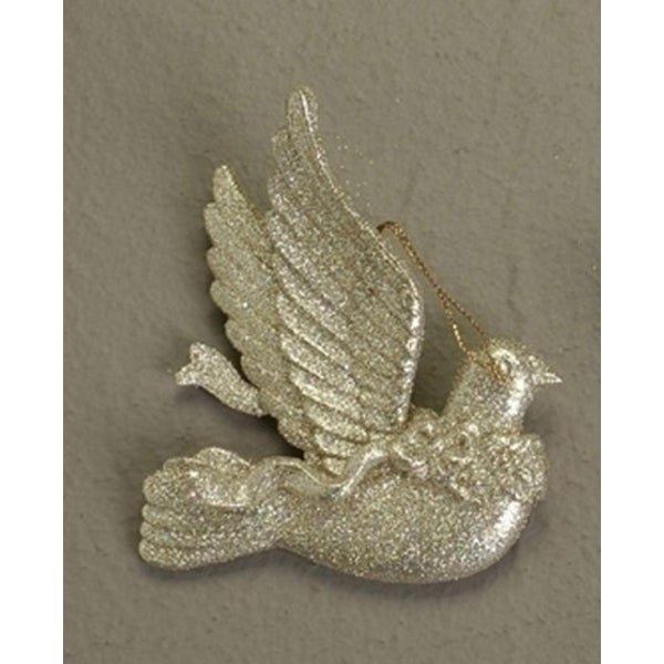 Nature's Beauty Gold Glittery Dove Christmas Ornament 4""