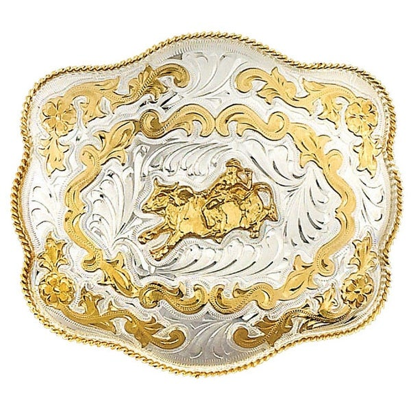 Extra-Large German Silver Tone and Gold Tone Belt Buckle with Bullrider Detail - One size
