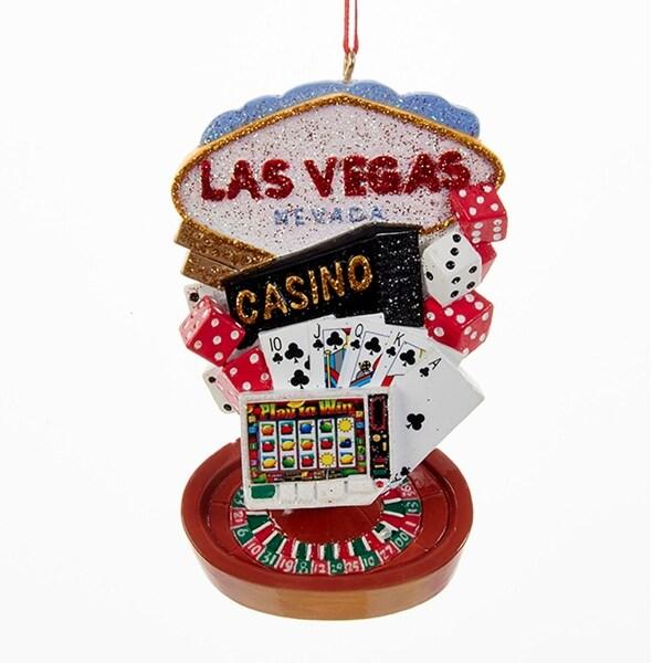 "3.75"" Casino Royale Las Vegas Gambling Novelty Christmas Ornament - RED"